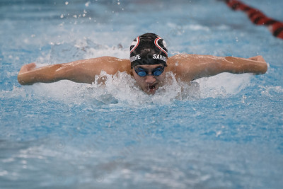 Cheshire's Ankit Sahasrabudhe in the 200 medley relay Tuesday at the Cheshire Community Pool in Cheshire February 13, 2018 | Justin Weekes / Special to the Record-Journal