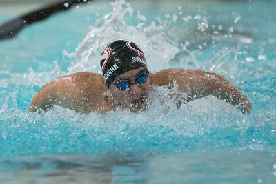 Cheshire's Ankit Sahasrabudhe in the 200 medley relay Thursday at the Sheehan High School Natatorium in Wallingford  February 1, 2018 | Justin Weekes / Special to the Record-Journal