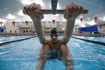 Cheshire's Sam Hanke gets set for the 200 medley relay Tuesday at the Cheshire Community Pool in Cheshire February 13, 2018 | Justin Weekes / Special to the Record-Journal
