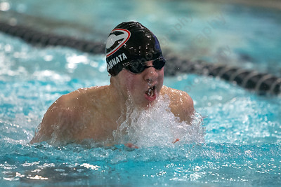 Cheshire's Joseph Cannata in the 200 medley relay Thursday at the Sheehan High School Natatorium in Wallingford  February 1, 2018 | Justin Weekes / Special to the Record-Journal