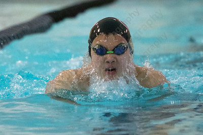 Cheshire's Harrison Hua in the 200 medley relay Thursday at the Sheehan High School Natatorium in Wallingford  February 1, 2018 | Justin Weekes / Special to the Record-Journal