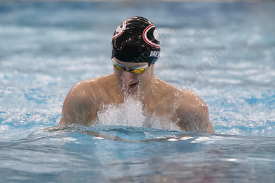 Cheshire's Ben Brewer swims breast stroke in the 200 individual medley Tuesday at the Cheshire Community Pool in Cheshire February 13, 2018 | Justin Weekes / Special to the Record-Journal