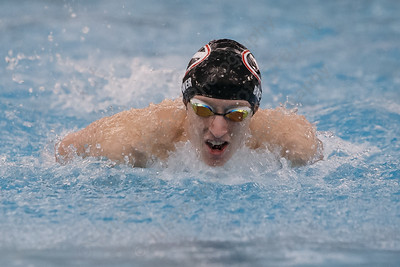 Cheshire's Ben Brewer in the 200 individual medley Tuesday at the Cheshire Community Pool in Cheshire February 13, 2018 | Justin Weekes / Special to the Record-Journal