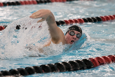Cheshire's Sam Hanke swims the 200 freestyle Monday at the Cheshire Community Pool in Cheshire  December 17, 2018 | Justin Weekes / Special to the Record-Journal