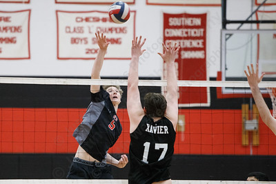 Cheshire's Aidan Godfrey touches over a defender Wednesday at Cheshire High School in Cheshire May 23, 2018 | Justin Weekes / Special to the Record-Journal