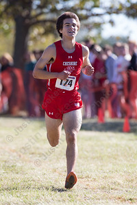 Cheshire's Brendan Murray Thursday during the SCC Cross Country finals at East Shore Park in New Haven October 19, 2017 | Justin Weekes / For the Record-Journal