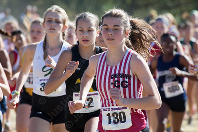 Cheshire's Lauren Daddi Thursday during the SCC Cross Country finals at East Shore Park in New Haven October 19, 2017 | Justin Weekes / For the Record-Journal