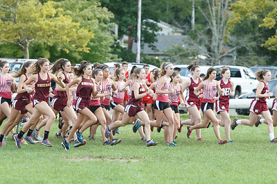 Runners leave the start in the girls race Wednesday at Sheehan High School in Wallingford September 26, 2018 | Justin Weekes / Special to the Record-Journal