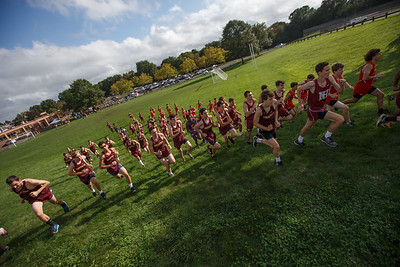 Runners in the boys race make their way from the start Wednesday at Sheehan High School in Wallingford September 26, 2018 | Justin Weekes / Special to the Record-Journal