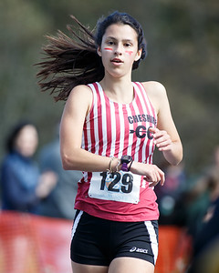 Cheshire's Amanda Addesso finished fifth Friday during the SCC Cross Country Championships at East Shore Park in New Haven October 19, 2018 | Justin Weekes / Special to the Record-Journal