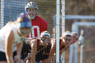 Cheshire's Madeline Levy (00) and defenders line up in the goal for a in bound play from Darien's Georgia Cassidy (2) Saturday at Cottone Field in Wethersfield  Nov., 16 2013 | Justin Weekes / For the Record-Journal
