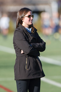 Cheshire's head coach Eileen Gallagher watches from the sideline as Darien is awarded another penalty shot Saturday at Cottone Field in Wethersfield  Nov., 16 2013 | Justin Weekes / For the Record-Journal