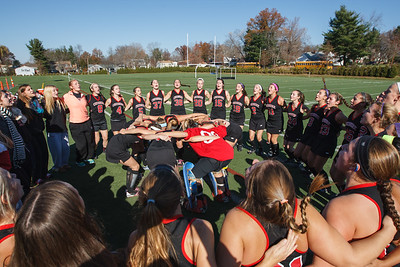 Cheshire's field hockey team gets ready to play Darien in the class L final  Saturday at Cottone Field in Wethersfield  Nov., 16 2013 | Justin Weekes / For the Record-Journal