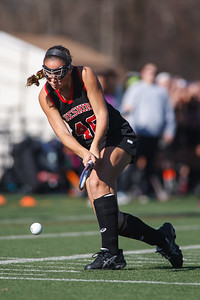 Cheshire's Mikayla Crieger (46) gets a shot off during the claas L finals against Darien Saturday at Cottone Field in Wethersfield  Nov., 16 2013 | Justin Weekes / For the Record-Journal
