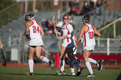 Cheshire celebrates with Mia Pulisciano after scoring Monday at Alumni Field on the campus of Cheshire High School in Cheshire October 30, 2017 | Justin Weekes / For the Record-Journal