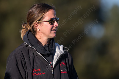 Cheshire's head coach  Eileen Wildermann watches her players Monday at Alumni Field on the campus of Cheshire High School in Cheshire October 30, 2017 | Justin Weekes / For the Record-Journal