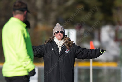 Cheshire's head coach Eileen Wildermann appeals to the referee over a questionable call Friday at Alumni Field during the CIAC Class L quarterfinal round on the campus of Cheshire High School in Cheshire. Staples defeated Cheshire 2 to 1.November 10, 2017 | Justin Weekes / For the Record-Journal