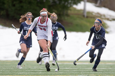 Cheshire's Anne Eddy moves the ball up field Sunday during the CIAC Class L finals at Wethersfield High School in Wethersfield November 18, 2018 | Justin Weekes / Special to the Record-Journal