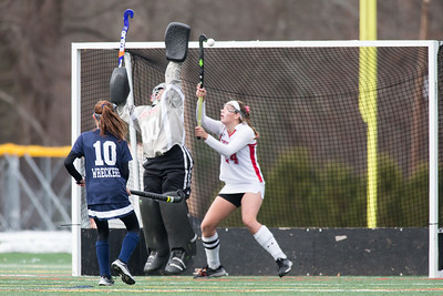 Cheshire's goalie Alexis Hemstock saves a lifted shot Sunday during the CIAC Class L finals at Wethersfield High School in Wethersfield November 18, 2018 | Justin Weekes / Special to the Record-Journal
