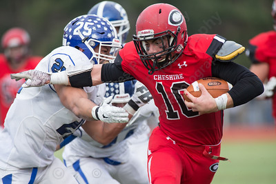 Cheshire's RJ Oris (10) Thursday at Alumni Field for the Apple Classic Thanksgiving Day game in Cheshire Nov. 26, 2015   Justin Weekes / For the Record-Journal