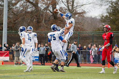 Southington's celebrates Anthony Plantamuro's touchdown reception Thursday at Alumni Field for the Apple Classic Thanksgiving Day game in Cheshire Nov. 26, 2015   Justin Weekes / For the Record-Journal