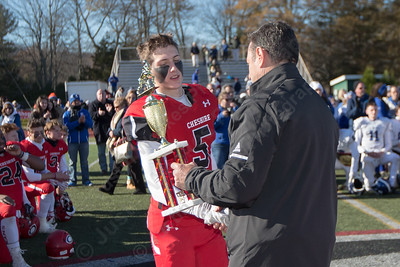 Cheshire's Nick Quint shared MVP with  Michael Jeffery Thursday during the 22nd Annual Apple Classic on Thanksgiving Day at Alumni Field on the campus of Cheshire High School in Cheshire. The Blur Knoghts of Southington defeated the Cheshire Rams 30 to 22. November 23, 2017 | Justin Weekes / For the Record-Journal