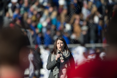 Alea Vernon sings the National Anthem Thursday during the 22nd Annual Apple Classic on Thanksgiving Day at Alumni Field on the campus of Cheshire High School in Cheshire. The Blue Knights of Southington defeated the Cheshire Rams 30 to 22. November 23, 2017 | Justin Weekes / For the Record-Journal