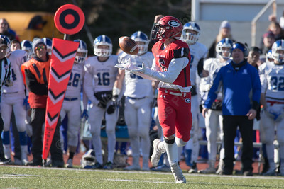 Cheshire's Eric Angelone gets wide open Thursday during the 22nd Annual Apple Classic on Thanksgiving Day at Alumni Field on the campus of Cheshire High School in Cheshire. The Blue Knights of Southington defeated the Cheshire Rams 30 to 22. November 23, 2017 | Justin Weekes / For the Record-Journal