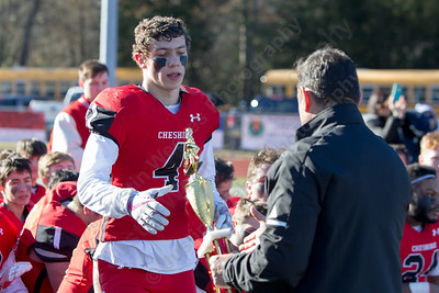 Cheshire's  Michael Jeffery shared MVP with Nick Quint Thursday during the 22nd Annual Apple Classic on Thanksgiving Day at Alumni Field on the campus of Cheshire High School in Cheshire. The Blur Knoghts of Southington defeated the Cheshire Rams 30 to 22. November 23, 2017 | Justin Weekes / For the Record-Journal