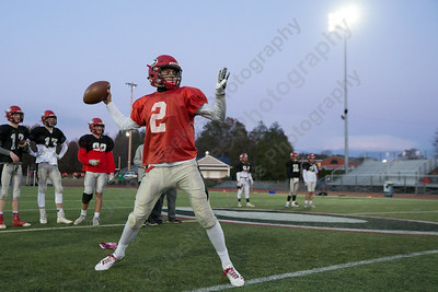 Cheshire's Jack Raba looks for a receiver Thursday as the Rams prepare for the Apple Classic at Cheshire High School in Cheshire November 16, 2017 | Justin Weekes / For the Record-Journal