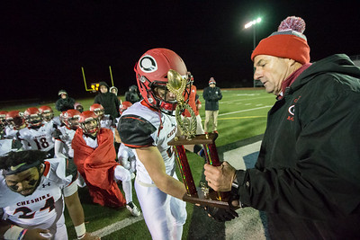 Cheshire's Christian Russo received the offensive MVP from Athletic Director Steve Trifone Wednesday during the 23rd Annual Apple Valley Classic at Fontana Field on the campus of Southington high School in Southington November 21, 2018 | Justin Weekes / Special to the Record-Journal