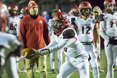 Cheshire's Colby Griffin runs through plays before the start Wednesday during the 23rd Annual Apple Valley Classic at Fontana Field on the campus of Southington high School in Southington November 21, 2018 | Justin Weekes / Special to the Record-Journal