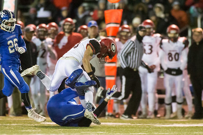 Cheshire's Christian Russo adds some yards after a reception Wednesday during the 23rd Annual Apple Valley Classic at Fontana Field on the campus of Southington high School in Southington November 21, 2018 | Justin Weekes / Special to the Record-Journal