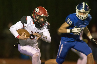 Cheshire's Christian Russo finds some space in the middle Wednesday during the 23rd Annual Apple Valley Classic at Fontana Field on the campus of Southington high School in Southington November 21, 2018 | Justin Weekes / Special to the Record-Journal