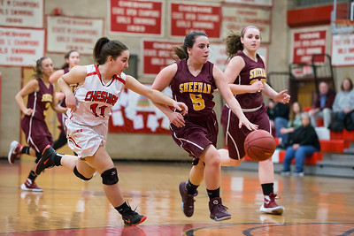 Sheehan's Alexia Ocasio breaks out on a fast break as Cheshire's Brady McQuade guards Wednesday at Cheshire High School in Cheshire Feb. 3, 2016 | Justin Weekes / For the Record-Journal