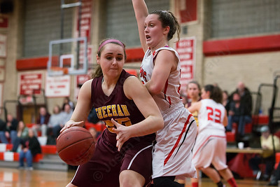 Sheehan's Kaitlin Lagase works the low post on Cheshire's Julia Schaff Wednesday at Cheshire High School in Cheshire Feb. 3, 2016 | Justin Weekes / For the Record-Journal