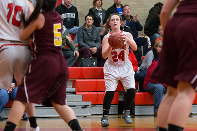 Cheshire's Julia Schaff gets an open look at a three point shot Wednesday at Cheshire High School in Cheshire Feb. 3, 2016 | Justin Weekes / For the Record-Journal