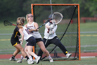 Cheshire's Sophie Kurtz makes a kick save Thursday at Cheshire High School in Cheshire May 17, 2018 | Justin Weekes / Special to the Record-Journal