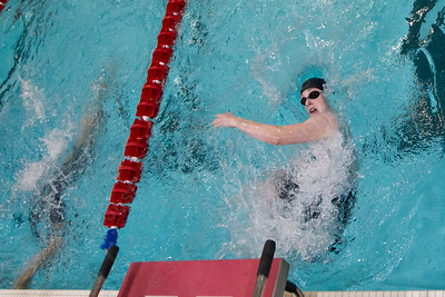 Cheshire's Elizabeth Boyer makes the final turn in the 200 individual medley Wednesday during the CIAC Class L swimming finals at the Freeman Athletic Center Natatorium on the campus of Wesleyan University in Middletown November 15, 2017   Justin Weekes / For the Record-Journal