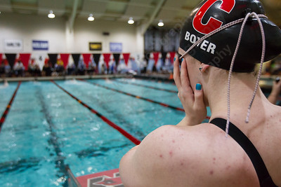 Cheshire's Elizabeth Boyer gets set for the 200 individual medley Wednesday during the CIAC Class L swimming finals at the Freeman Athletic Center Natatorium on the campus of Wesleyan University in Middletown November 15, 2017 | Justin Weekes / For the Record-Journal