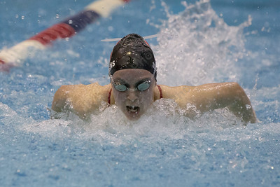 Cheshire's Julia Stevens in the 100 butterfly Wednesday during the SCC swimming finals at the Hutchinson Natatorium on the campus of Southern Connecticut State University in New Haven November 1, 2017 | Justin Weekes / For the Record-Journal