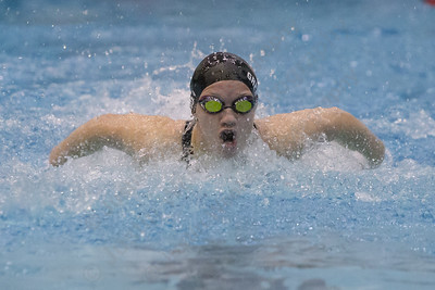 Cheshire's Samantha Grenon swims the butterfly in the 200 individual medley Wednesday during the SCC swimming finals at the Hutchinson Natatorium on the campus of Southern Connecticut State University in New Haven November 1, 2017 | Justin Weekes / For the Record-Journal