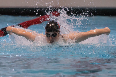 Cheshire's Elizabeth Boyer swims the butterfly in the 200 individual medley Wednesday during the CIAC Class L swimming finals at the Freeman Athletic Center Natatorium on the campus of Wesleyan University in Middletown November 15, 2017 | Justin Weekes / For the Record-Journal