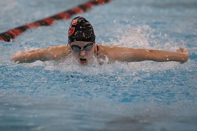 Cheshire's Julia Stevens swims the butterfly stroke in the 200 medley relay Thursday at the Cheshire Community Pool in Cheshire September 20, 2018 | Justin Weekes / Special to the Record-Journal