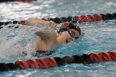 Cheshire's Julia Stevens swims the 200 freestyle Thursday at the Cheshire Community Pool in Cheshire September 20, 2018 | Justin Weekes / Special to the Record-Journal