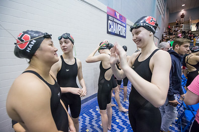 Cheshire gets ready for the 200 medley relay A main Tuesday during the CIAC Class L swimming finals at the Hutchinson Natatorium on the campus of SCSU in New Haven November 13, 2018 | Justin Weekes / Special to the Record-Journal