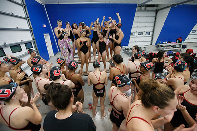 Cheshire girls swimming gets ready for Lyman Hall Thursday at the Cheshire Community Pool in Cheshire September 20, 2018   Justin Weekes / Special to the Record-Journal