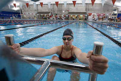 Cheshire's Jillian Stevens gets set for the 200 medley relay Thursday at the Cheshire Community Pool in Cheshire September 20, 2018   Justin Weekes / Special to the Record-Journal