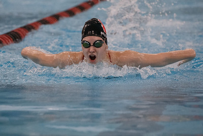 Cheshire's Jillian Stevens swims the butterfly stroke in the 200 individual medley Thursday at the Cheshire Community Pool in Cheshire September 20, 2018 | Justin Weekes / Special to the Record-Journal