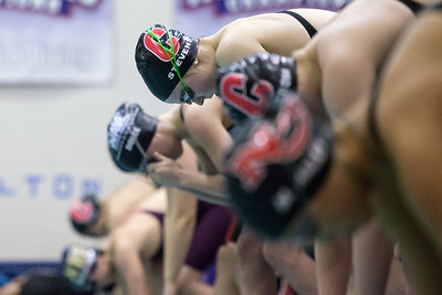 Cheshire's Julia Stevens gets ready for the 200 freestyle Tuesday during the CIAC Class L swimming finals at the Hutchinson Natatorium on the campus of SCSU in New Haven November 13, 2018 | Justin Weekes / Special to the Record-Journal